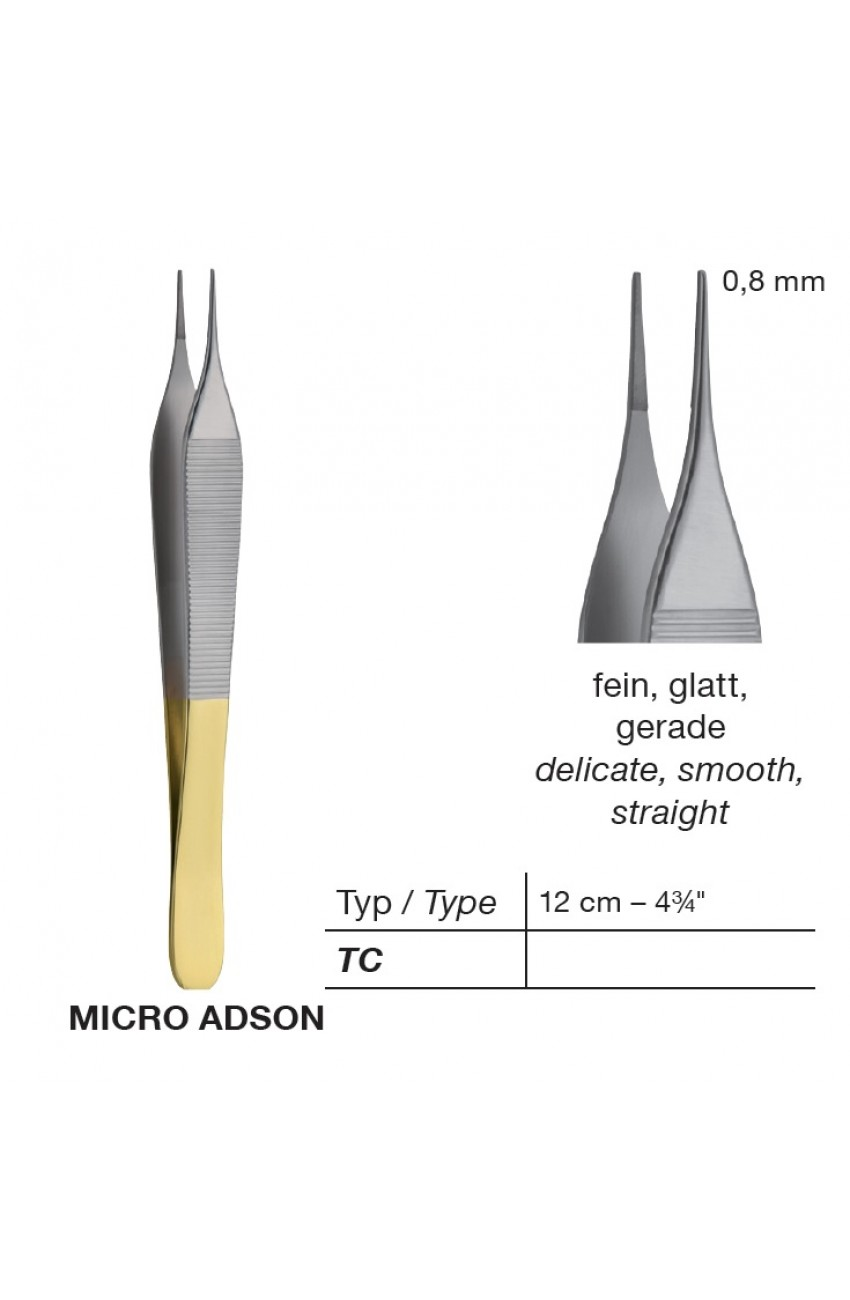T/C Micro Adson Delicate Dissecting Forceps,Smooth, Point 0.8 mm, 12 cm